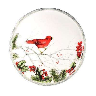 8.5 in. D Round Cardinal Holly Salad Plate