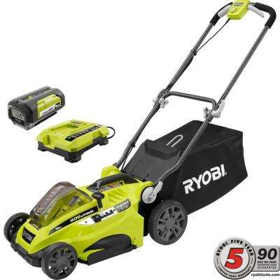 16 in. 40-Volt Lithium-Ion Cordless Battery Walk Behind Push Lawn Mower - 4.0 Ah Battery/Charger Included