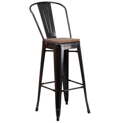 30.5 in. Black-Antique Gold Bar Stool