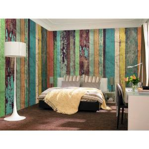 Wood Wall Mural komar 100 in. x 72 in. vintage wood wall mural-4-910 - the home depot