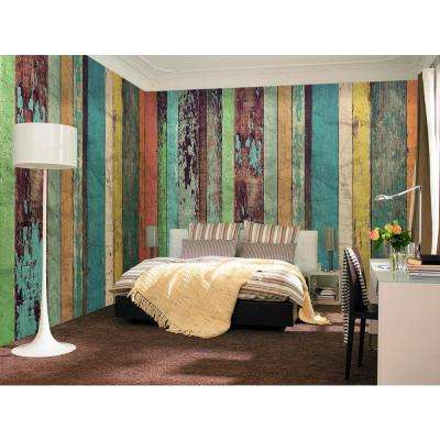 144 in. W x 100 in. H Colored Wood Wall Mural