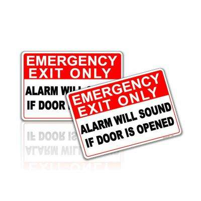 7 in. x 10 in. Emergency Exit Only Alarm Will Sound If Door Is Opened Sticker