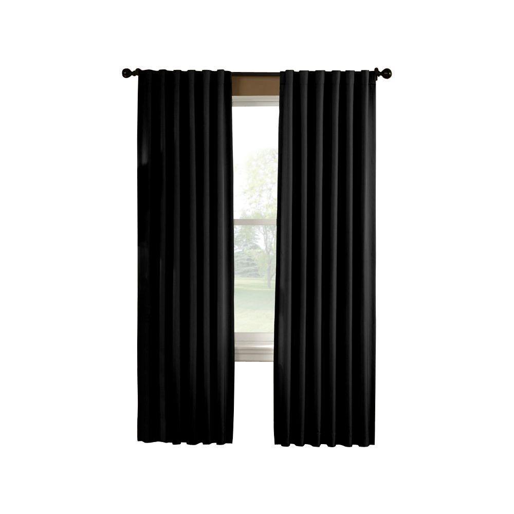 Semi-Opaque Saville 63 in. Black Thermal Curtain Panel