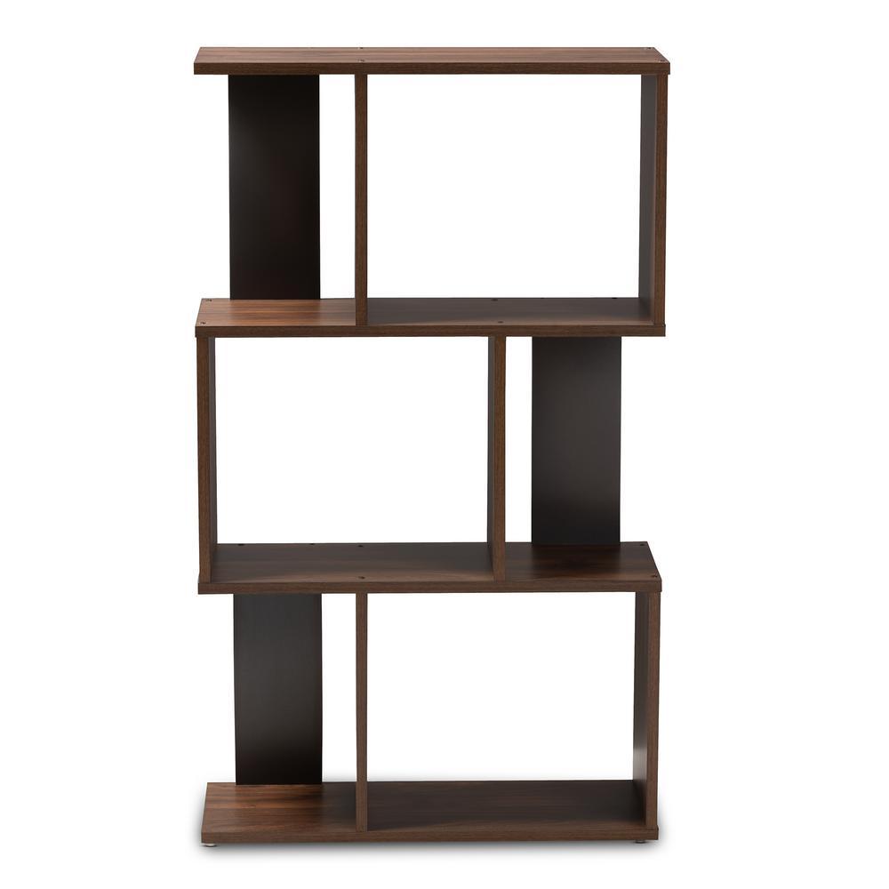 Baxton Studio Legende Walnut Brown And Dark Gray Bookcase