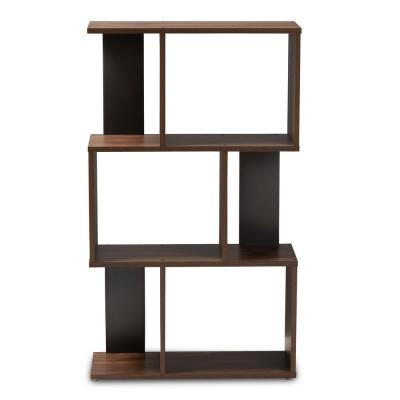 40.2 in. Walnut Brown/Dark Gray Wood 3-shelf Accent Bookcase with Open Back