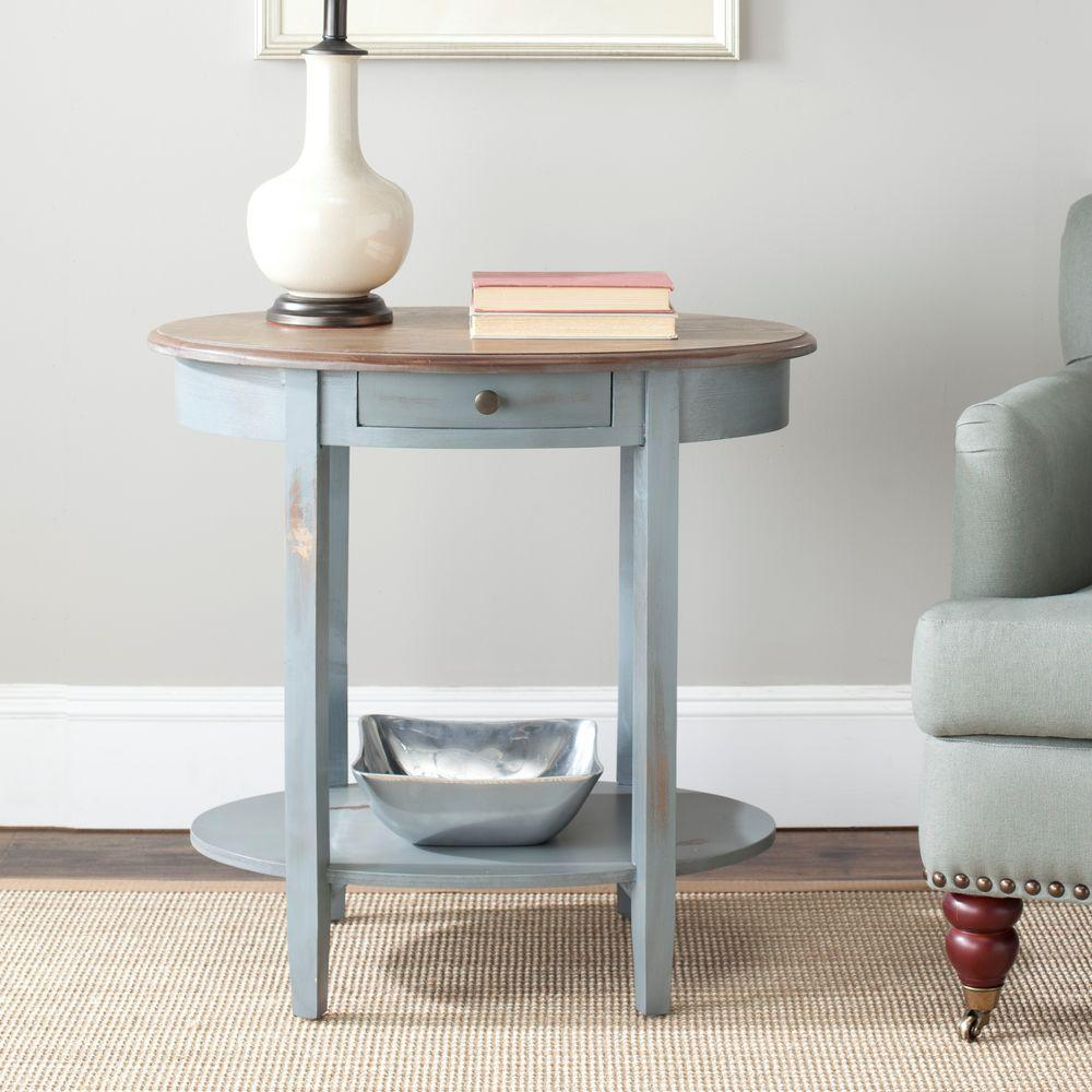 Safavieh Whitney Barn Blue and Oak Storage End Table