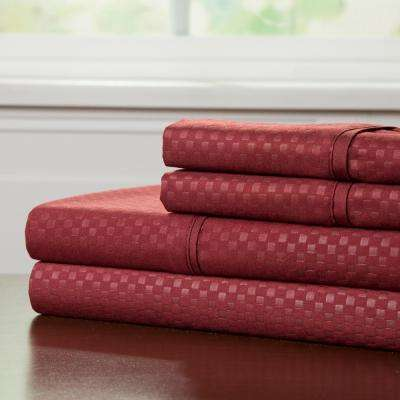 Embossed 4-Piece Burgundy 90 GSM Microfiber Full Sheet Set