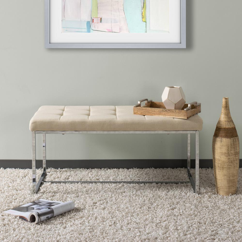 Huntington Modern Beige Fabric Bench with Chrome Base