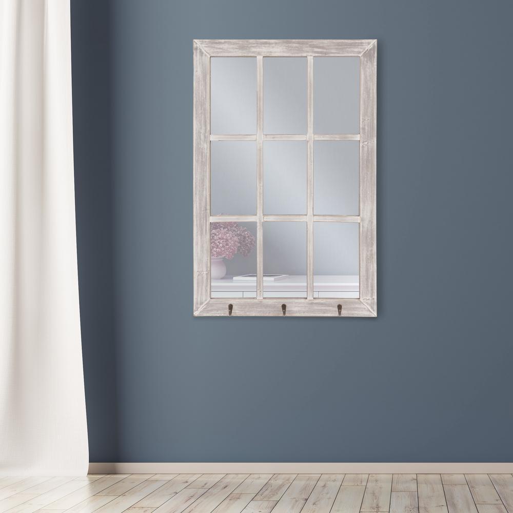 Windowpane with Hooks Rectangular White Decorative Mirror