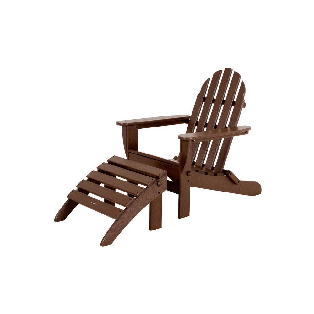 Classic Mahogany Plastic Patio Adirondack Chair