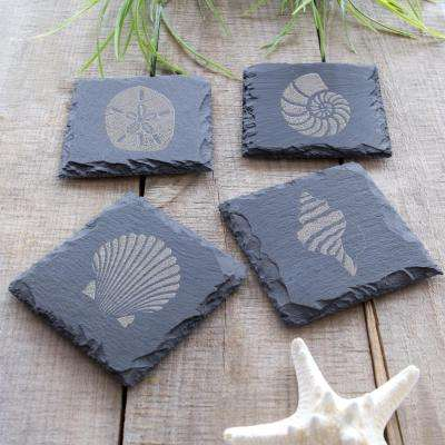 Sea Shell Slate Coasters (Set of 4)