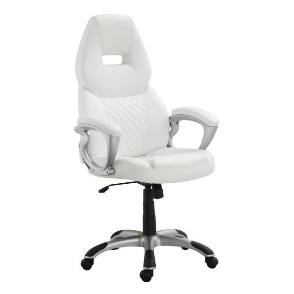 Adjustable Height Office Chair White and Silver