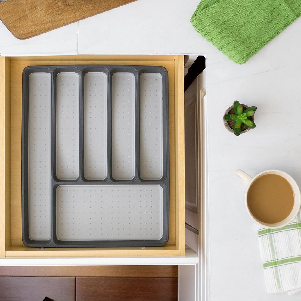 Light Grey Plastic Flatware Organizer with Rubber Liner