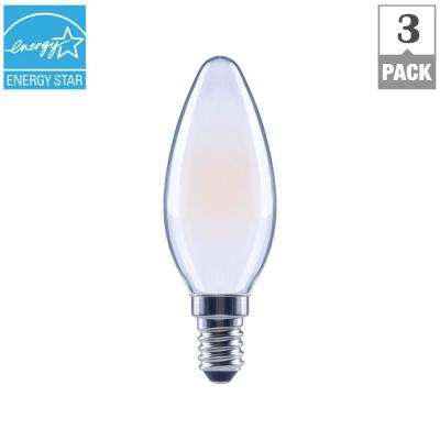 40-Watt Equivalent B11 E12 Base Dimmable Frosted Filament LED Light Bulb, Soft White (3-Pack)