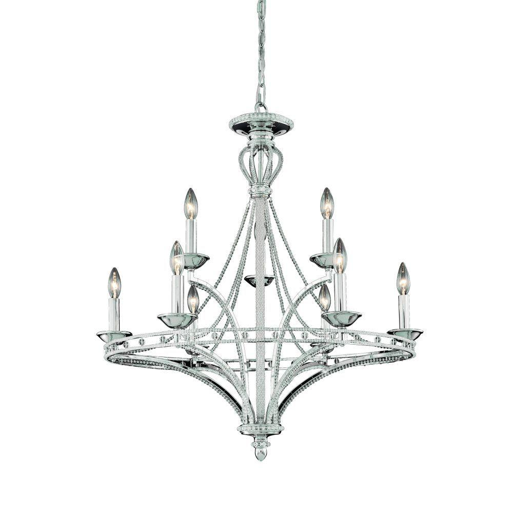 Eurofase Beauchamp Collection 9-Light 213-1/2 in. Hanging Satin Nickel Chandelier-DISCONTINUED