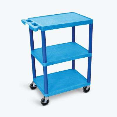 HE 24 in. W x 18 in. D x 34 in. H, 3-Shelf Utility Cart in Blue
