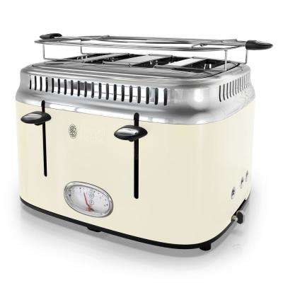 Retro Style 4-Slice Cream and Stainless-Steel Toaster