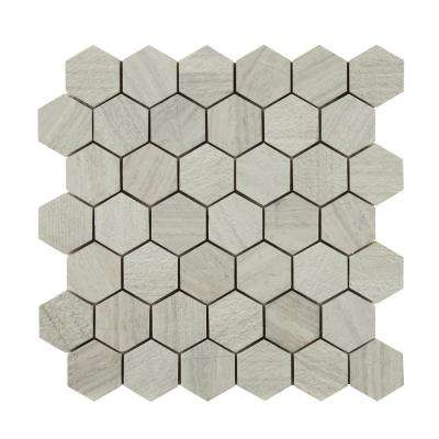 Honeycomb Hexagon 12 in. x 12 in. x 10mm Natural Marble Mesh-Mounted Mosaic Floor and Wall Tile (9.8 sq. ft. / case)