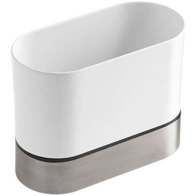Stainless Steel Kitchen Brush Caddy in White