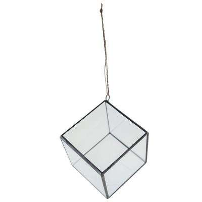 4 in. Geometric Terrarium Crystal Glass Cube Hanging