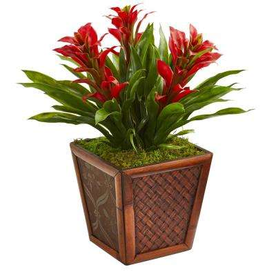 Triple Red Bromeliad Artificial Plant in Decorative Planter