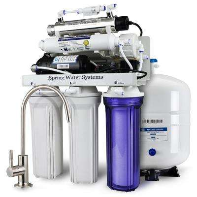6-Stage with Booster Pump and UV Sterilizer 100GPD Under Sink Reverse Osmosis Drinking Water Filtration System