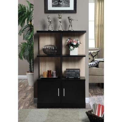 Key West Weathered White and Black Console Bookcase with Cabinet