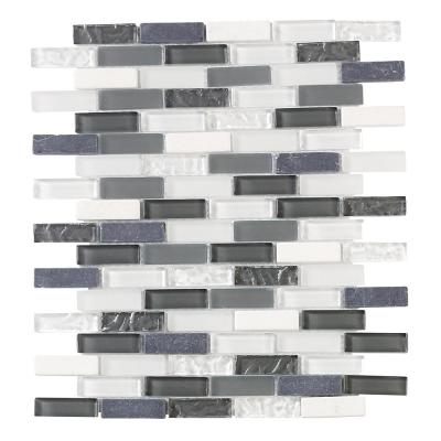 Silver Tradition Mini Brick Gray 9.75 in. x 12 in. x 8 mm Interlocking Textured Glass Mosaic Tile