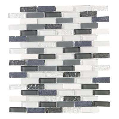 Silver Tradition Mini Brick 9.75 in. x 12 in. x 8 mm Glass Mosaic Wall Tile