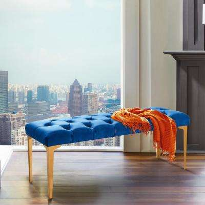 Hayley Blue Velvet and Gold Stainless Steel Contemporary Bench