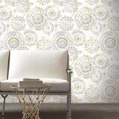 28.18 sq. ft. Blue, White and Pink Bohemian Peel and Stick Wallpaper