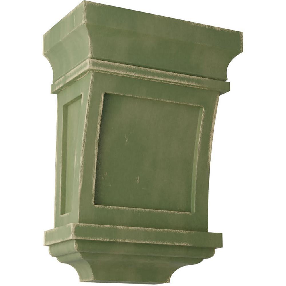 5 in. x 7 in. x 3 in. Restoration Green Santa Fe Wood Vintage Decor Corbel