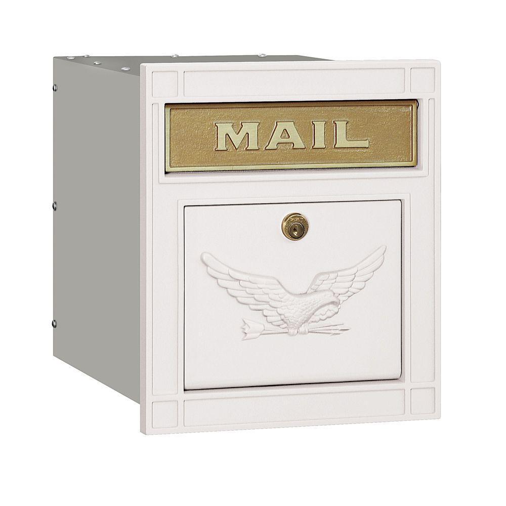 Salsbury Industries 4100 Series 11.5 in. W x 13.25 in. H x 15.75 in. D White Locking Eagle Door Cast Aluminum Column Mailbox
