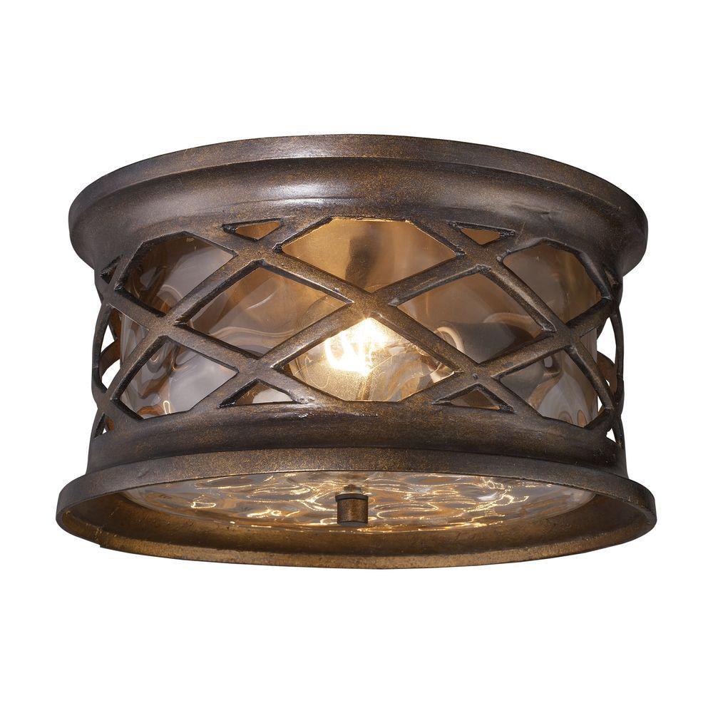 An Lighting Barrington Gate 2 Light Hazelnut Bronze Outdoor Flushmount