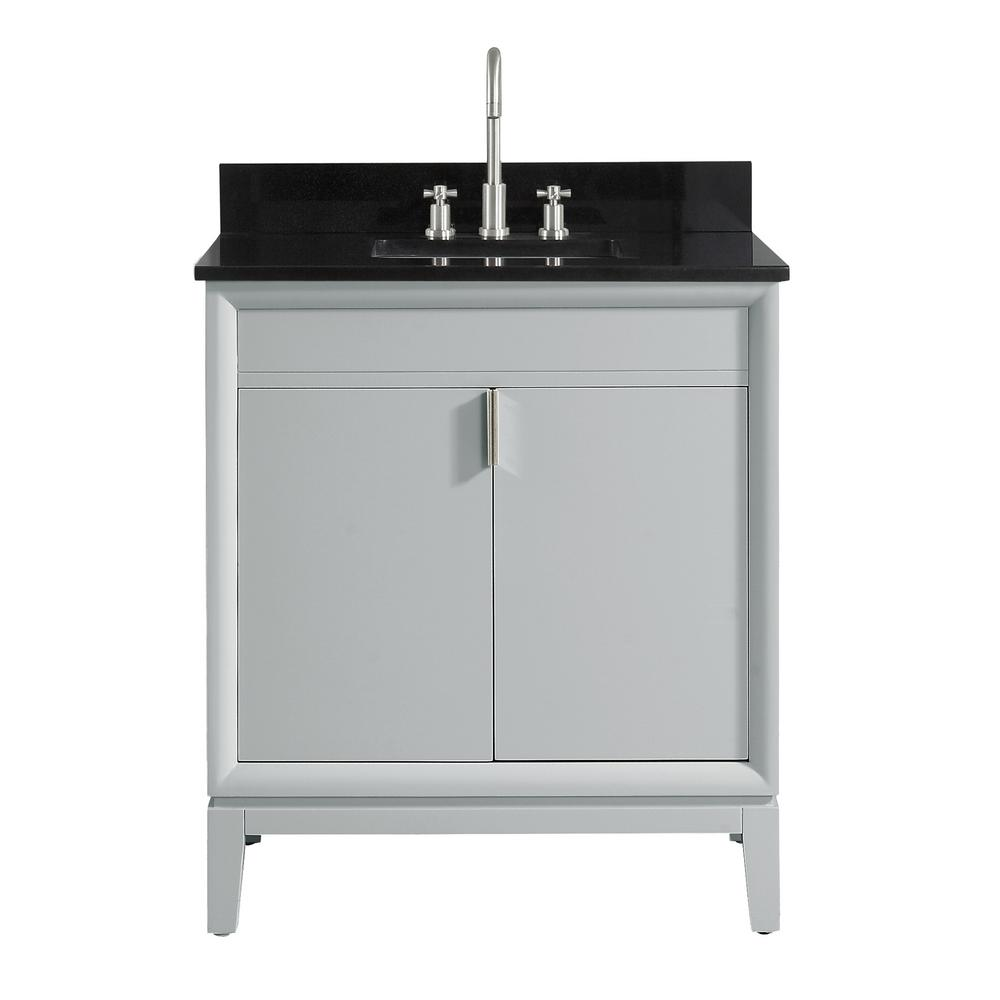 Avanity Emma 31 in. W x 22 in. D x 35 in. H Bath Vanity in Dove Gray with Granite Vanity Top in Black with White with Basin