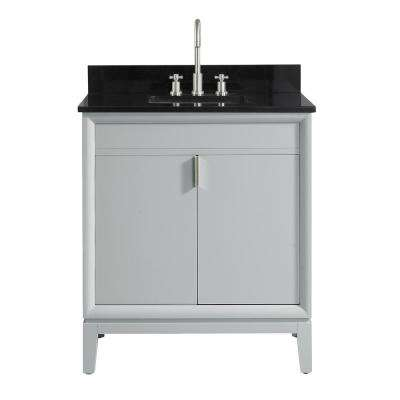 Emma 31 in. W x 22 in. D x 35 in. H Bath Vanity in Dove Gray with Granite Vanity Top in Black with White with Basin