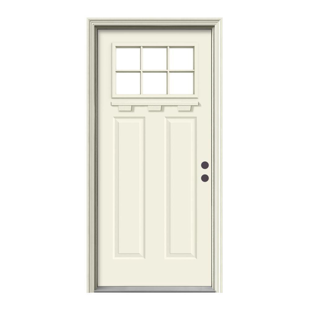 """"""" 36 in. x 80 in. 6 Lite Craftsman Vanilla Painted Steel Prehung Left-Hand Inswing Front Door w/Brickmould and Shelf"""""""