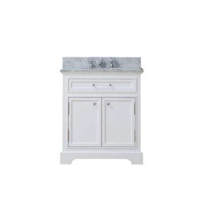 30 in. W x 22 in. D x 34 in. H Bath Vanity in White with Marble Vanity Top in Carrara White with White Basin