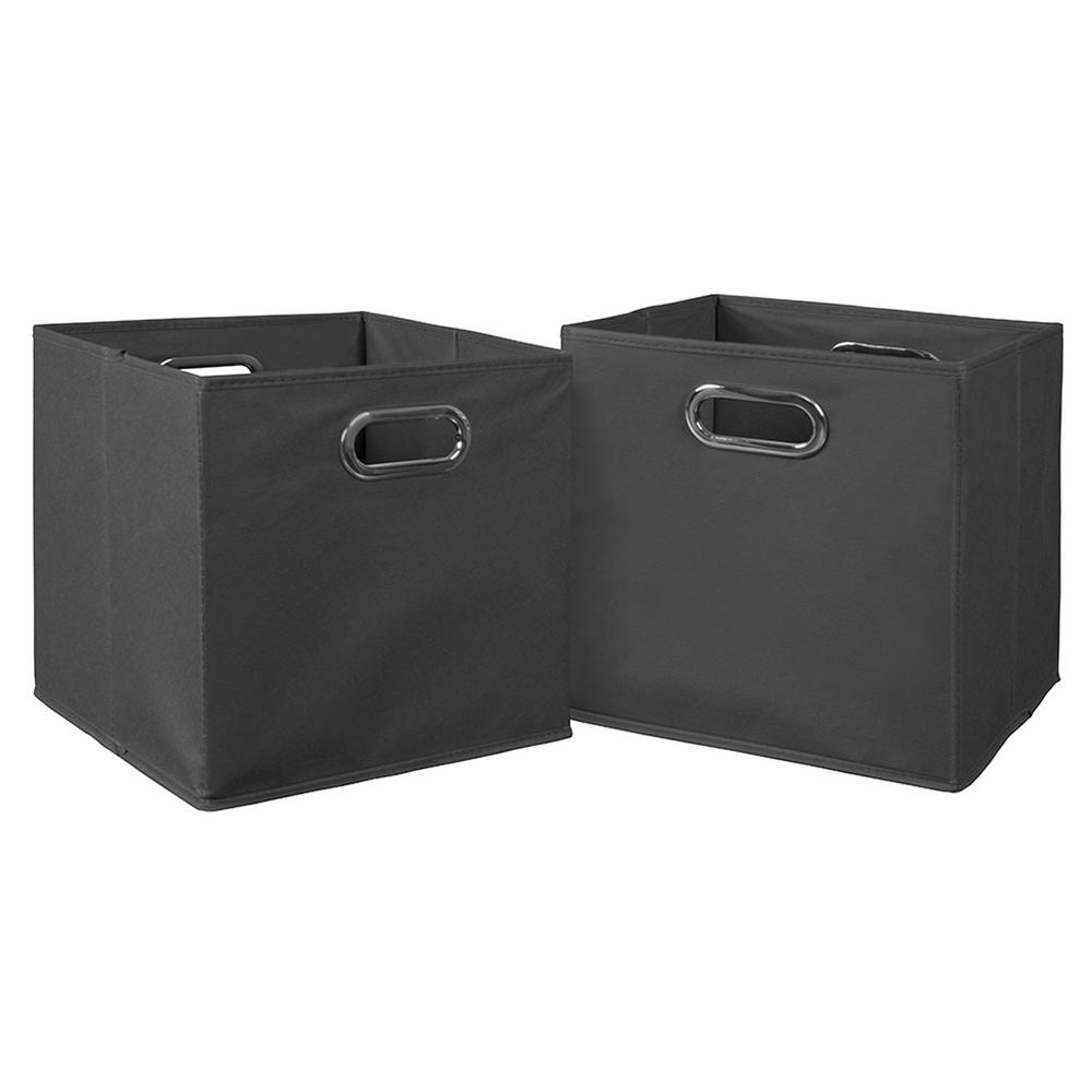 Cubo 12 in. x 12 in. Grey Foldable Fabric Bin (2-Pack)