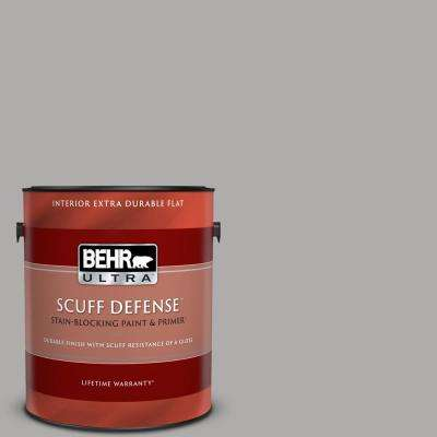 1 gal. #N520-3 Flannel Gray Extra Durable Flat Interior Paint & Primer