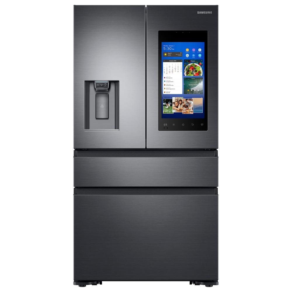 Samsung 22.2 cu. Ft. Family Hub 4-Door French Door Recessed Handle Smart Refrigerator in Black Stainless, Counter Depth
