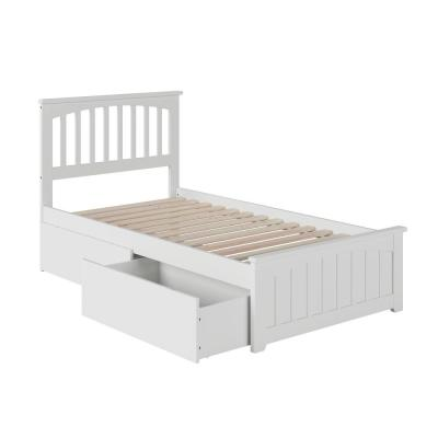 Mission White Twin XL Platform Bed with Matching Foot Board with 2-Urban Bed Drawers