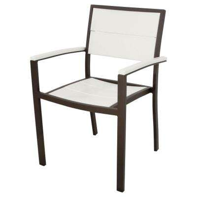 Surf City Textured Bronze Patio Dining Arm Chair with Classic White Slats