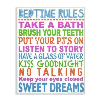 """13 in. x 19 in. """"Multi Colored Bedtime Rules Typography"""" by Marilu Windvand Printed Wood Wall Art"""