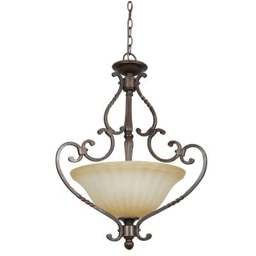 Graham 3-Light Mahogany Bowel Pendant