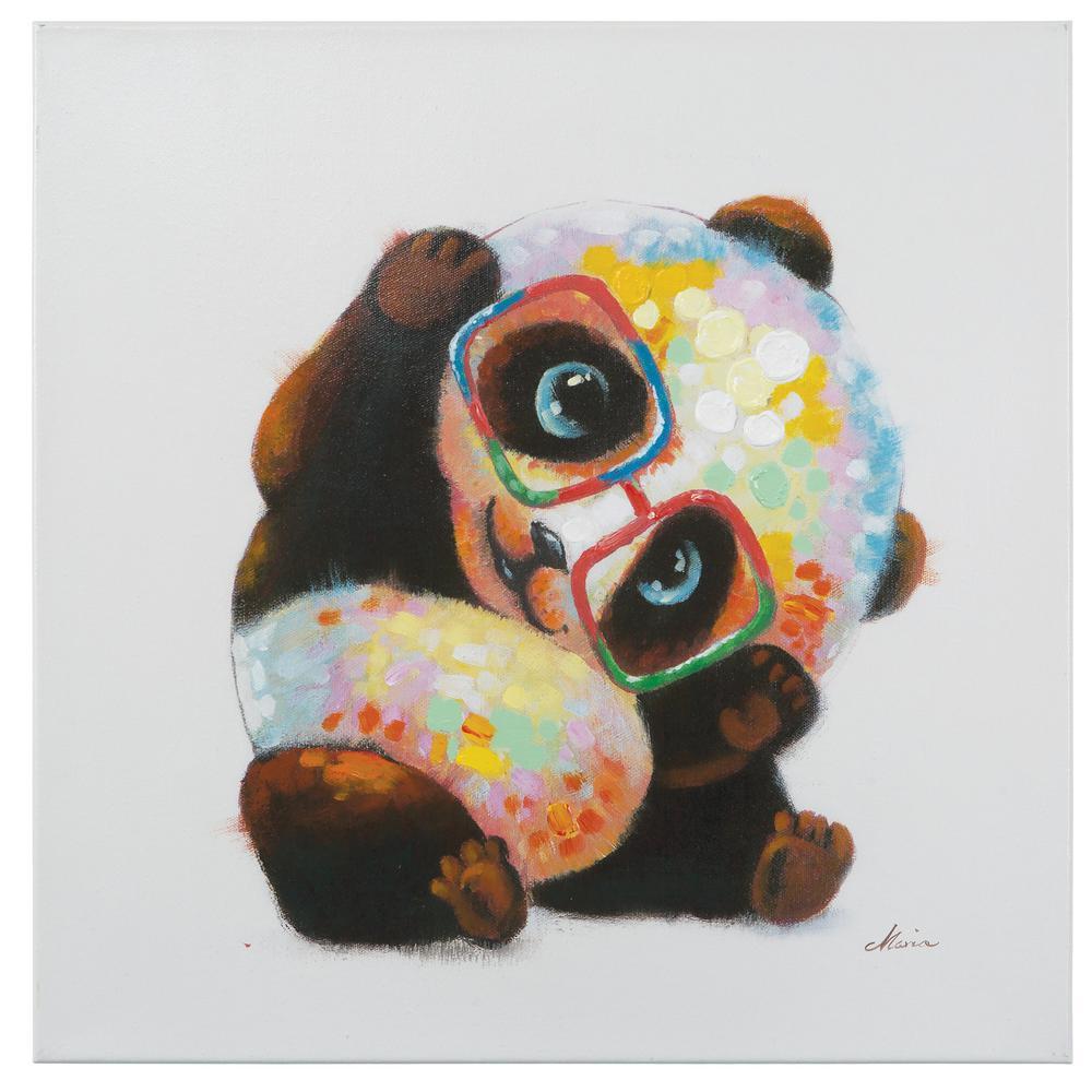 """24 in. H x 24 in. W """"Smarty Panda"""" Artwork in Acrylic Canvas Wall Art"""