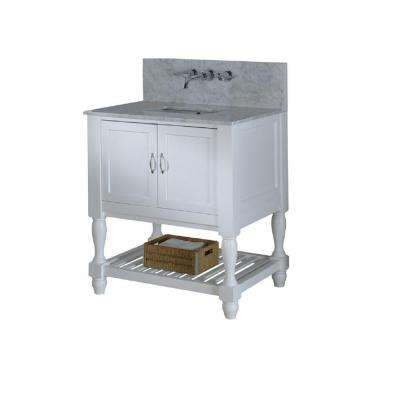 Mission Turnleg Spa Premium 32 in. Vanity in White with Marble Vanity Top in Carrara White with White Basin