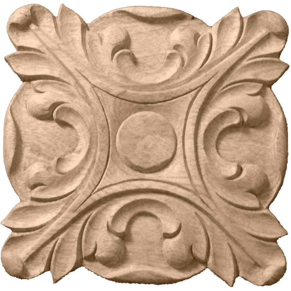 Ekena Millwork 5 in. x 3/4 in. x 5 in. Unfinished Wood Maple Acanthus Rosette