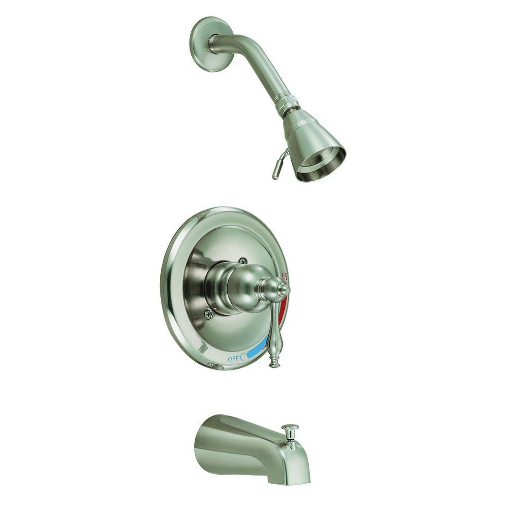 Design House Saratoga Single-Handle 2-Spray Tub and Shower Faucet in Satin Nickel