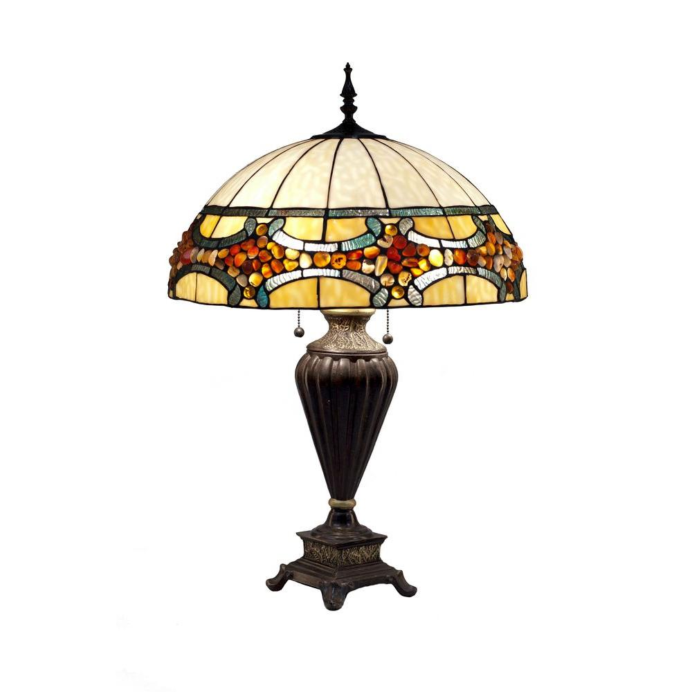 Serena D'italia Tiffany Emperor Jade 35 in. Bronze Table Lamp